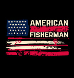 American fisherman flag with fishing vector