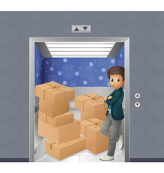 An elevator full of boxes vector image