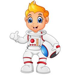 astronaut cartoon giving thumb up vector image