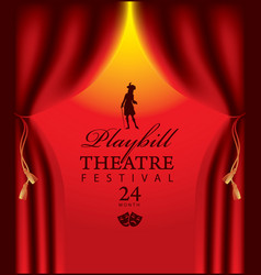 Banner for theatre festival with red curtains vector