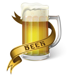 beer mug with foam and ribbon vector image