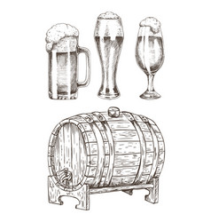 beer set and round wooden cask vector image
