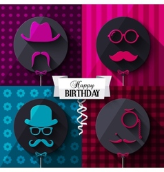 Birthday card Colorful baloons in flat design vector image