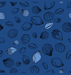 blue sea shells doodle background pattern vector image