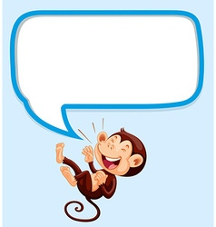 Border design with monkey laughing vector