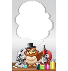 Border design with owl in chemistry lab vector