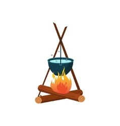 Bowl On Camp Fire vector