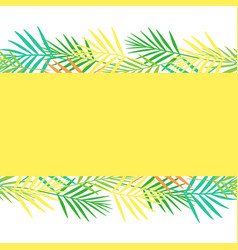 bright postcard from abstract tropical leaf style vector image