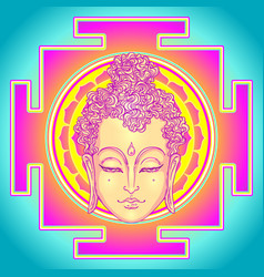 Buddha face over ornate mandala pattern esoteric vector