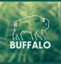 buffalo outline for logo design vector image