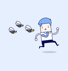 Businessman running away from dangerous insects vector