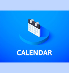 Calendar isometric icon isolated on color vector