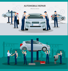 Car repair banners set vector