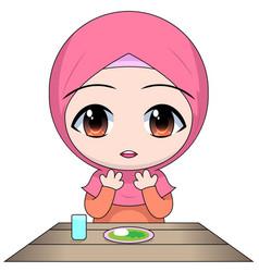 Cartoon chibi muslim woman character pray before vector
