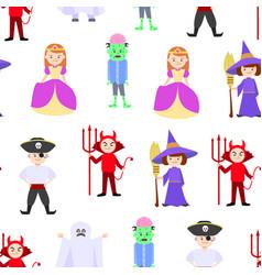 cartoon halloween kids costumes seamless pattern vector image