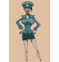 cartoon serious woman in police uniform vector image