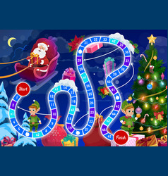 Children christmas board game with santa and elfs vector