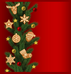 Christmas and new year seamless vertical border vector