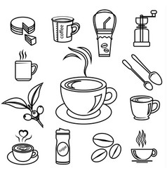 coffee icon set with accessories and ingredient vector image