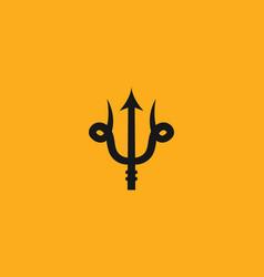 creative design trident poseidon logo crown vector image