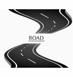 curved perspective road way with white markings vector image