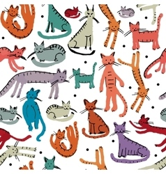 Cute cats seamless pattern Sketch for your vector image