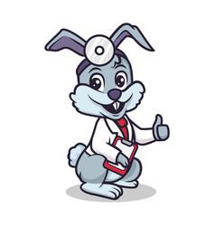 Cute doctor bunny mascot design vector