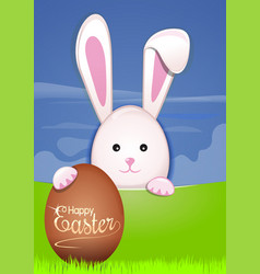 cute easter bunny with easter eggs egg hunter vector image