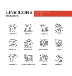 Disasters - line design icons set vector