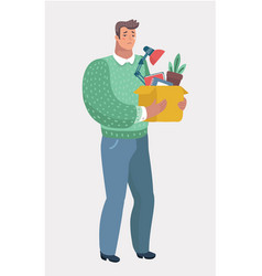 Dismissed frustrated man carrying box with things vector