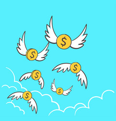 dollars money coins with wings flying away to the vector image