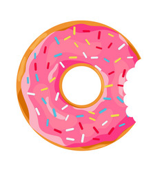 Donut with a mouth bite vector