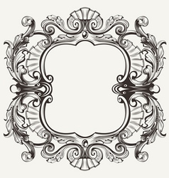 Elegant Baroque Ornate Curves Engraving Frame vector