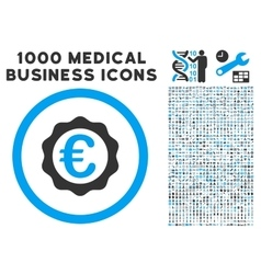 Euro Award Stamp Icon with 1000 Medical Business vector image