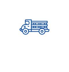 farming truck line icon concept farming truck vector image