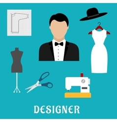 Fashion designer with sewing tools and clothing vector image