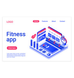 Fitness app isometric landing page template vector