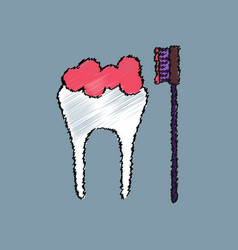 Flat shading style icon tooth and toothbrush vector