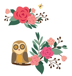 Floral compositions with owl and butterfly vector