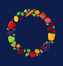 fruit and vegetable circle frame vector image