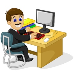 Funny businessman cartoon working in his office de vector