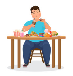 Funny fat obese man eating hamburger fast food vector