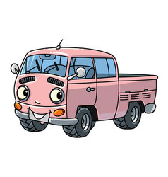 Funny small retro pickup car or van with eyes vector