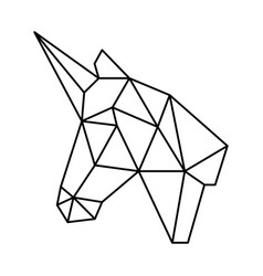 Geometric unicorn head polygonal origami black vector