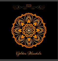 Gold color indian mandala over black vector