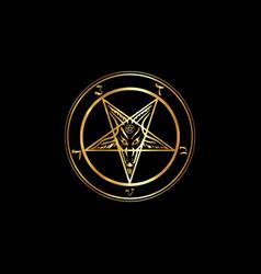 Golden sigil baphomet original pentagram vector