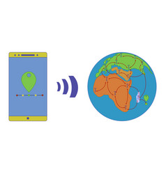 gps signal spreads all over the planet equally vector image