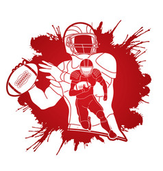 Group of american football player sportsman vector