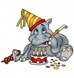Hippo and birthday cake vector