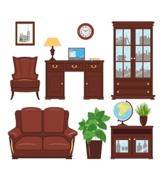 Home office furniture set vector